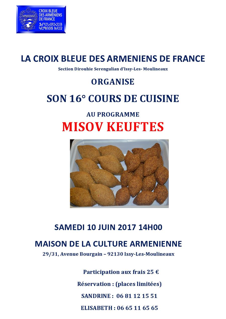La Maison Bleue Issy Les Moulineaux cours de cuisine « missov keuftés » - croix bleue des arméniens de france
